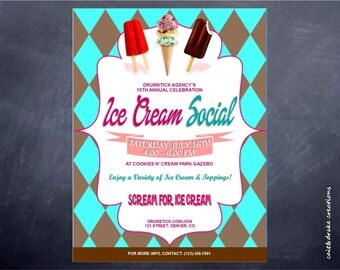 Ice Cream Social Summer Party Flyer Digital Printable