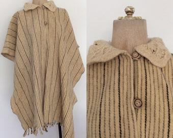 1970's Cream Striped Wool Blanket Poncho