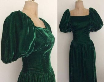 20% OFF 1980's Green Velvet Wiggle Dress with Puff Sleeves Size XS by Maeberry Vintage