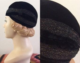 20% OFF 1920's Black Velvet Hat w/ Gold Thread