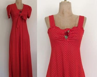 20% OFF 1970's Red Polka Dot Maxi Dress with Bolero Vintag Maxi Dress Size Small Medium by Maeberry Vintage