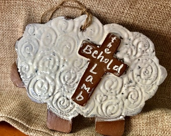 Christmas Tree Ornament, Christmas Decor, Unique Ceramic Lamb, HANDMADE NATIVITY COLLECTION, Behold the Lamb