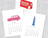 2017 Printable Calendar, London Icons, Instant Download, 8x10