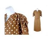 Polka Dot Dress, Mocha and White, 2 Piece Dress, Size Extra Small 23-24 inch waist