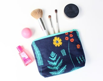 Navy and Turquoise Flowered Zipper Pouch - Cotton and Steel Fern - Padded Makeup Bag - Handmade Cosmetic Organizer - Friend Stocking Stuffer