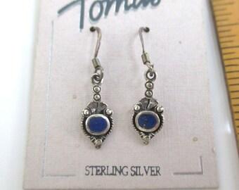 925 Sterling Silver & Lapis Lazuli Earrings - Vintage, Pierced, Dangle
