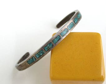 Sterling Silver & Turquoise Inlay Cuff Bracelet - Vintage Small, Native American / Southwestern