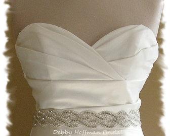 Wedding Dress Sash, 17 inch Rhinestone Crystal Bridal Sash, Jeweled Bridal Belt, Wide Crystal Wedding Sash, Wedding Belt Sash, No. 1121S2-17