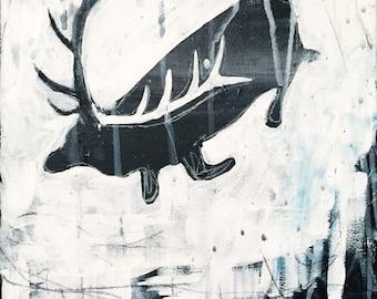 Original Bull Elk Painting - El Wapiti