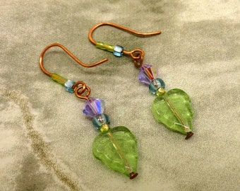Czech Glass Leaf Earrings