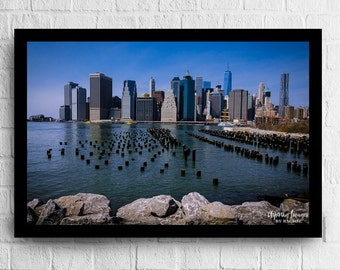 NYC Photography, Manhattan From Brooklyn, Blue and Gray Home Decor, Skyline Office Decor, NYC Photo, NYC Print, Manhattan Print, Blue Gray