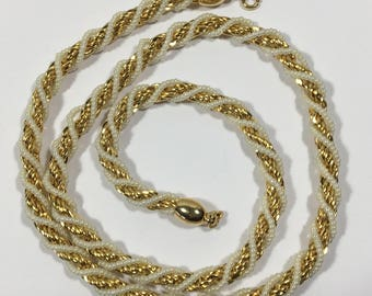 Vintage Trifari Faux Pearl Gold Tone Braid Necklace Heavy Twisted Swirl 1980s