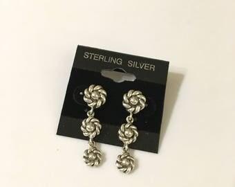 Flower Earrings, Silver Earrings, Dangle Earrings, Post Earrings, Silver Flower, Gift for Her, Sterling Silver, Flower Jewelry