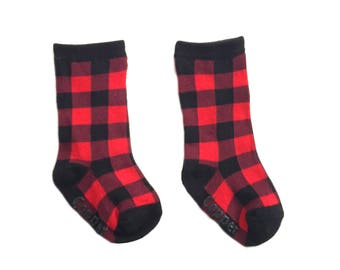 Baby and toddler knee high socks, Baby socks Boot Socks in Buffalo Plaid baby shower gift baby gift nordic print patterned socks