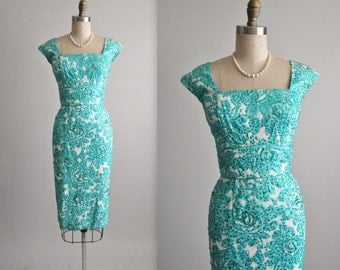 50's Sequin Dress // Vintage 1950's Floral Sequin Garden Cocktail Party Wiggle Dress S