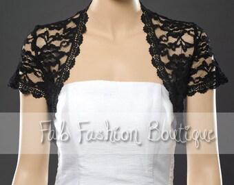 Short sleeved black lace bolero jacket shrug Size S-XL, 2XL-5XL