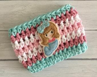 Mermaid cup cozy, summer cup cozy, mermaid party, mermaid gift, mermaid, coffee cup cozy, coffee cup sleeve, crochet cozie, planner supplies