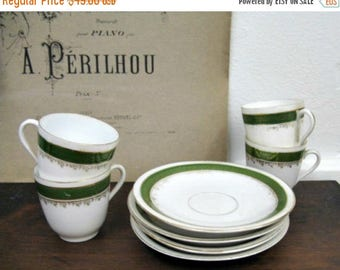 Spring Clearance SaLe Antique Carl Tielsch & Co Classic Teacups and Saucers Green White