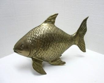 Vintage Brass Fish Brass Fish Figurine Brass Bass Brass Koi Large Brass Fish Brass Fish Statue
