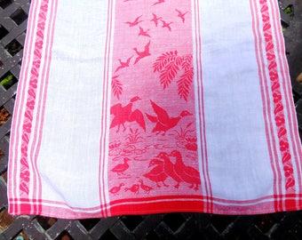 RED LINEN.  Linen Tea Towel. Red. Kitchen Decor. Kitchen Towel. Ducks. or. Geese. Kitchen Linens. Tea Towel. vintage 1940s. linen towel