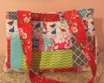 Gorgeous Floral patchwork diaper bag   Extra Large