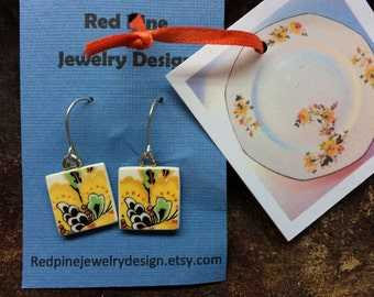 SALE - end of art show season - Recycled broken china plate earrings