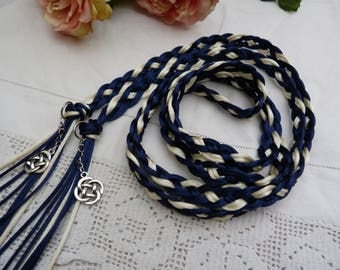 Celtic 8 strand weave satin silky cord - handfasting wedding - navy and ivory - silver celtic knots