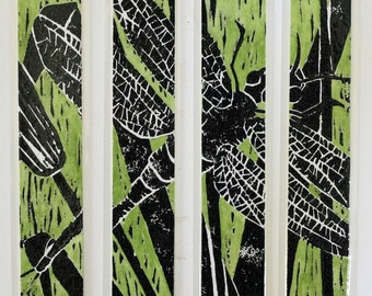 "Green Dragonfly laminated bookmarks 1.5"" x 8.25"" set of 4 linocut watercolor green black"