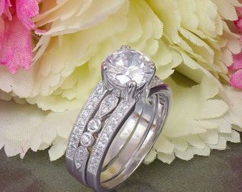 14k White Gold Round Cut Forever One Moissanite and Diamond Engagement Ring Halo Deco Antique Style, Bridal, Wedding, Prong Set,  2.50ctw