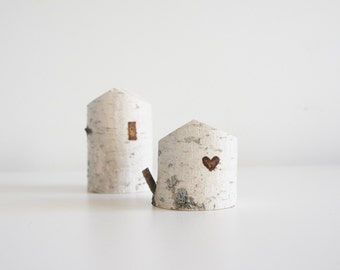 white birch tree houses - set of 2, heart, valentine's day gift, small wooden house, winter home decor, modern rustic, fairy house