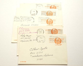 Vintage postcards, set of 5, sent to Outdoor Sports in Tuscaloosa. Postmarked in the late 1970s.