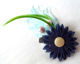 Kanzashi Flower Feather Fascinator Hair Clip Blue Green Pink