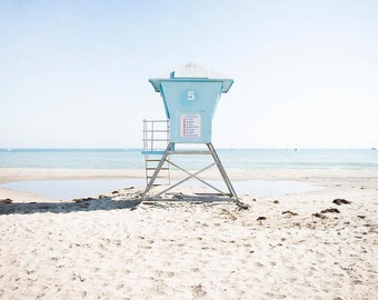 "Santa Barbara California, Coastal Wall Art, Beach, Lifeguard Tower, Beach Room, California Coast, Wall Art, Photography Print ""SB Tower 5"""
