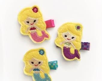 Little Mermaid Felt hair clip, baby hair clip, girl hair clip, barrette
