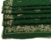Vintage Shawl/Stole. Regency Style. Emerald Green Georgette. Gilt embroidery/beads.