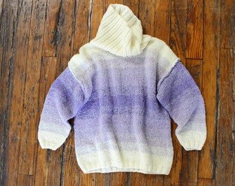 Slouchy Sweater S/M • Ombre Sweater • Pastel Sweater • Turtleneck Sweater • 80s Sweater • Oversized Sweater • Purple Sweater | T660