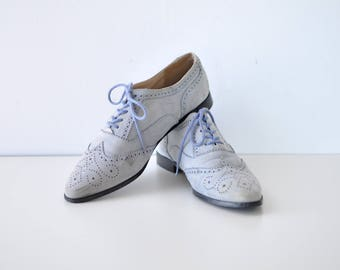 Blue Suede Shoes 9 • Oxford Shoes • Suede Shoes • Light Blue Shoes • Wingtip Shoes • Oxford Flats • Lace Up Shoes | SH333
