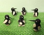 12 Miniature Penguins Hand Painted Wood Vintage Craft Suppli