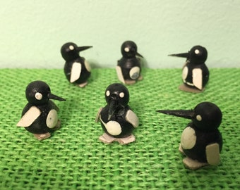 12 Miniature Penguins Hand Painted Wood Vintage Craft Suppli