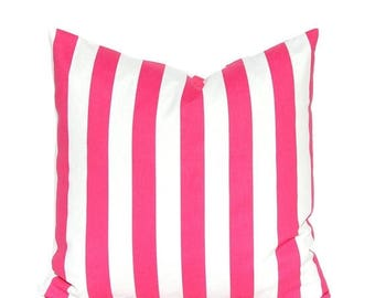 20% Off Sale Hot Pink Pillow Cover - Stripe Pillow Cover - Throw Pillow Cover - Hot Pink and White Stripe - Decorative Pillow Cover - Nurser