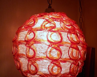 Vintage Lucite Spaghetti Swag Hanging Lamp