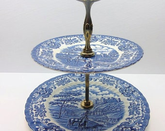 Vintage Olde Country Castles 2 Tier Cake Stand