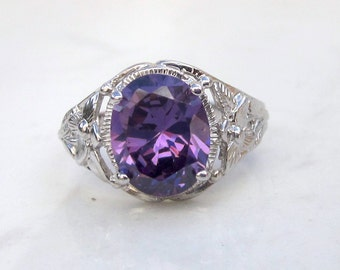 Vintage 14K White Gold Floral Filigree and Amethyst Ring, Size 7