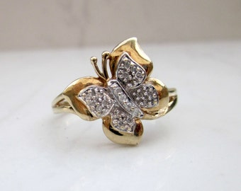 Vintage 10k Solid Yellow Gold and Pave Diamond Butterfly Ring, Size 10.25 // Vintage Butterfly Ring // Vintage Diamond Ring //