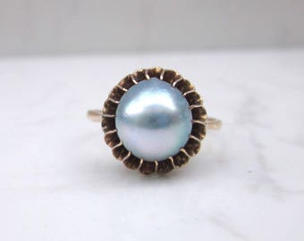 Vintage 10k Solid Yellow Gold 9 mm Blue Pearl Ring, Size 6 // Vintage Pearl Ring // Cultured Pearl Ring //