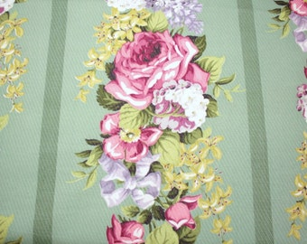 Barkcloth   Pink Roses, Lilacs, Hydrangeas on Sage Green Unused Vintage Barkcloth Fabric - 60 Inches Long x 48 Inches Wide