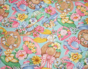 Garden Fabric | Charming Vintage-style Garden Hats and Flowers New OOP Fabric, Aqua Background -  2 Pieces, 1.75 Yards Total