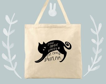 Make Magic Happen Cat Coven Salem Mass Cotton Canvas Tote Bag