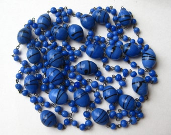 "Vintage 50s Blue Swirled Italian Venetian Art Glass Murano Bead 54"" Long Necklace"