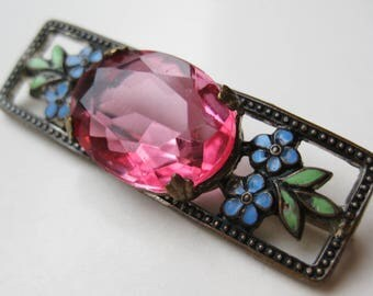 Vintage 40s Czech Jeweled Pink Open Back Faceted Art Glass Enamel Filigree Brooch Bar Pin